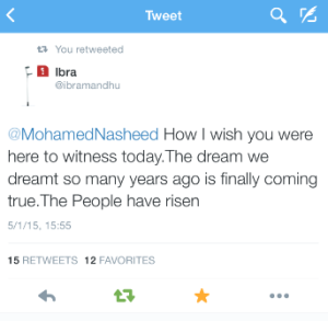 Ibra's tweet when the protests began on 1.5.15. Moving!