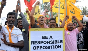 Placard used in one of MDP's rallies. Brings home the truth? Photo from Haveeru