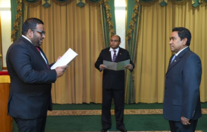 Ahmed Adeeb being sworn in as the Vice President - Source CNM